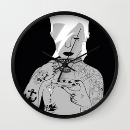 David Bowie Grey by emilythepemily Wall Clock