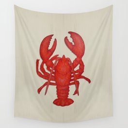 Lobster on Sand Colored Background Wall Tapestry