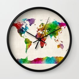 Watercolor Map of the World Map Wall Clock