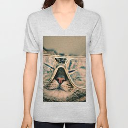 Sosy Cat with Glasses Unisex V-Neck