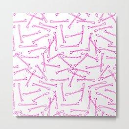 BOBBY PINS ((hot pink)) Metal Print