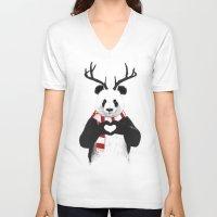xmas V-neck T-shirts featuring Xmas panda by Balazs Solti