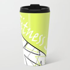 The fitness club . Sport . Lemon white creative sport pattern . Travel Mug