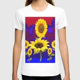 SUNFLOWERS & BUTTERFLIES RED OPTICAL ART T-shirt