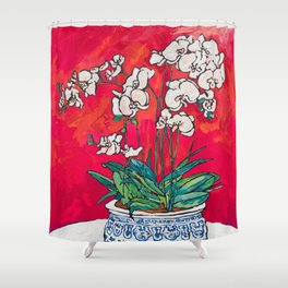 Orchid in Chinoiserie Bird Pot on Pink, Coral and Red Background Floral Still Life Painting Matisse Shower Curtain