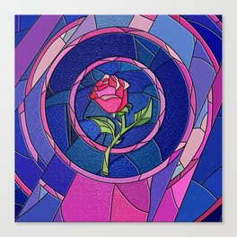 Rose Flower Stained Glass Canvas Print