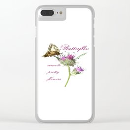 Butterflies Come To Pretty Flowers Korean Proverb Clear iPhone Case