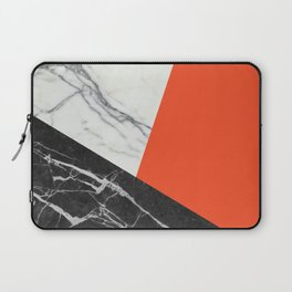 Black and White Marble with Pantone Flame Color Laptop Sleeve