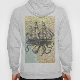 Octopus Attacks Ship on map background Hoody