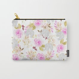 Modern pink gray watercolor hand painted floral elephant Carry-All Pouch