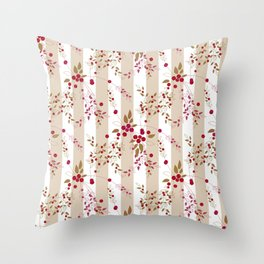 Pattern red wild berries branch texture striped background Throw Pillow