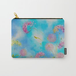 Light blue floral abstraction. Pink dandelions in the sky. Delicate flowers float in the air. Carry-All Pouch
