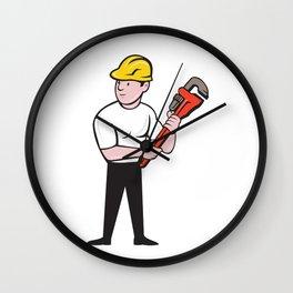 Plumber Holding Monkey Wrench Cartoon Wall Clock