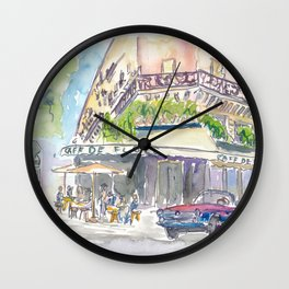 Paris Street Scene Romantic Cafe Wall Clock