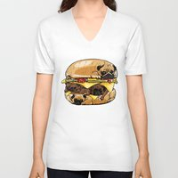 pugs V-neck T-shirts featuring Pugs Burger by Huebucket