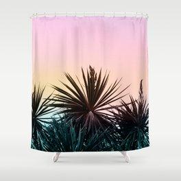 Sunset tropical palms Shower Curtain