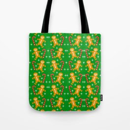 Gingerbread Men and Candy Canes Tote Bag