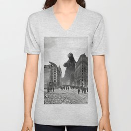 Old Time Godzilla in San Francisco Unisex V-Neck