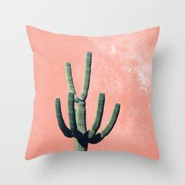Pink Cactus Succulent Boho Mexican Throw Pillow