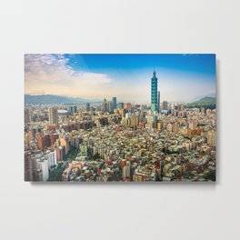 Aerial view and cityscape of Taipei, Taiwan Metal Print