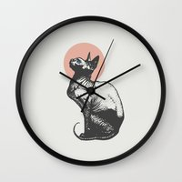 sphynx Wall Clocks featuring Sphynx by Zeke Tucker