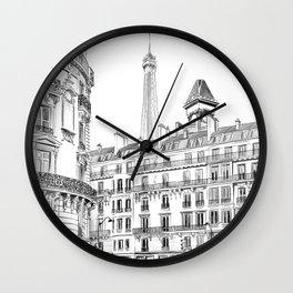 Parisian street - Architectural illustration Wall Clock