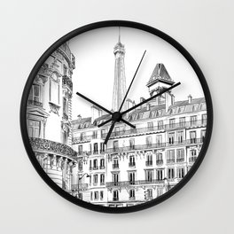 Parisian street - Architectural illustration Wall Clock