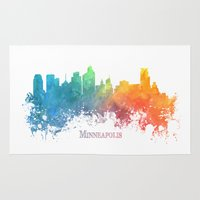 minneapolis Area & Throw Rugs featuring Skyline Minneapolis colored by jbjart