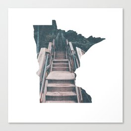 Minnesota Outline With Stairs to Split Rock Lighthouse Canvas Print