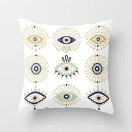 Evil Eye Collection on White Throw Pillow
