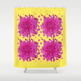 Fuchsia Pink Chrysanthemums Garden Yellow Art Shower Curtain
