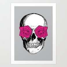 Skull and Roses | Grey and Pink Art Print