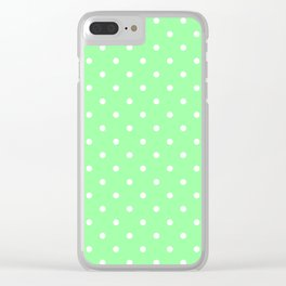 White Dots on Chrysoprase Clear iPhone Case