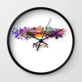 Peoria skyline in watercolor Wall Clock
