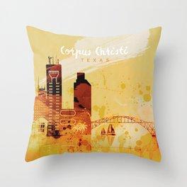 Corpus Christi Texas Red Yellow Skyline Throw Pillow
