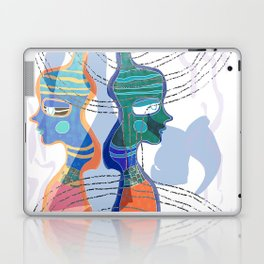 Girl Silhouette With Shapes VI Laptop & iPad Skin