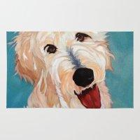 floyd Area & Throw Rugs featuring Our Dog Floyd by Barking Dog Creations Studio