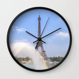 PARIS Eiffel Tower with rainbow Wall Clock