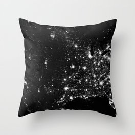The Lights of the USA (Black and White) Throw Pillow