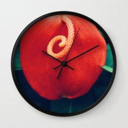 Red Hawaiian Flower Wall Clock