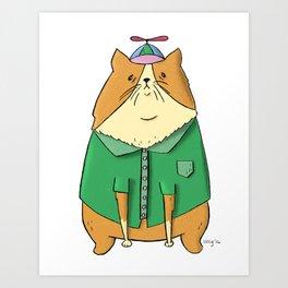 Beanie Cat Art Print