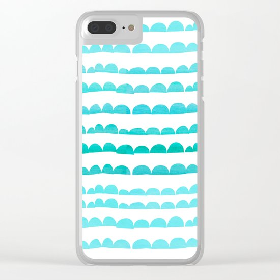 Handdrawn fun stripes pattern in turquoise on white background #Society6 Clear iPhone Case