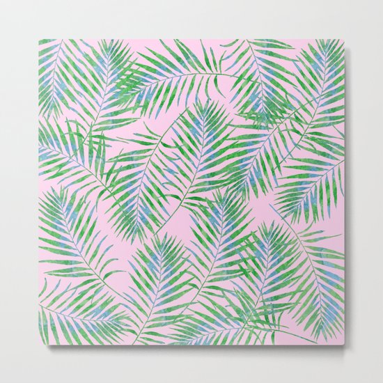 Fern Leaves Pink Metal Print
