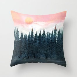 Forest Under the Sunset Throw Pillow