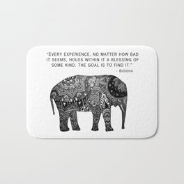 Buddha Quote with Henna Elephant Bath Mat