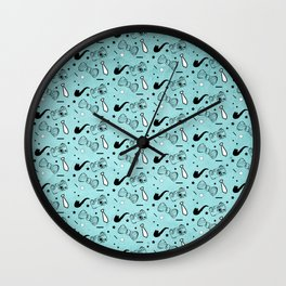 Vintage Hipster Elements Pattern on blue Wall Clock