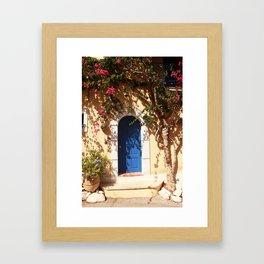 Santorini, Greece, countryside door, blue door Framed Art Print