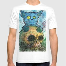 Blue Cat on a Skull White MEDIUM Mens Fitted Tee