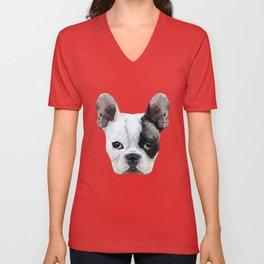 French bulldog puppy low poly. Unisex V-Neck