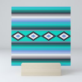 Modern Mexican Serape in Teal Mini Art Print